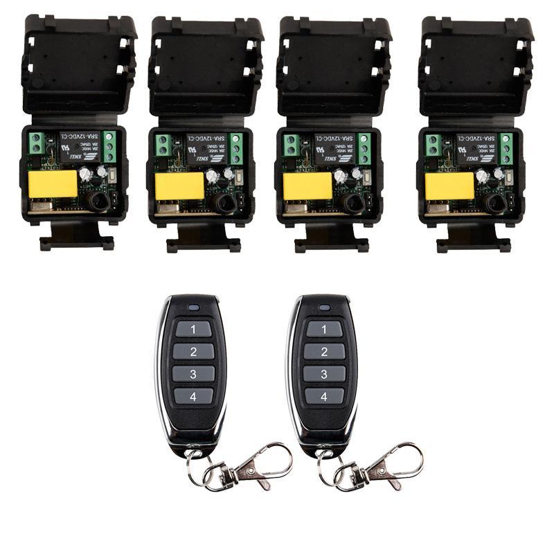 Controladores Remotos AC universal 220V 10A Relé 1CH sem fio RF Control Switch 2 * Transmissor + 4 * Módulo Receptor, 315/433 MHz