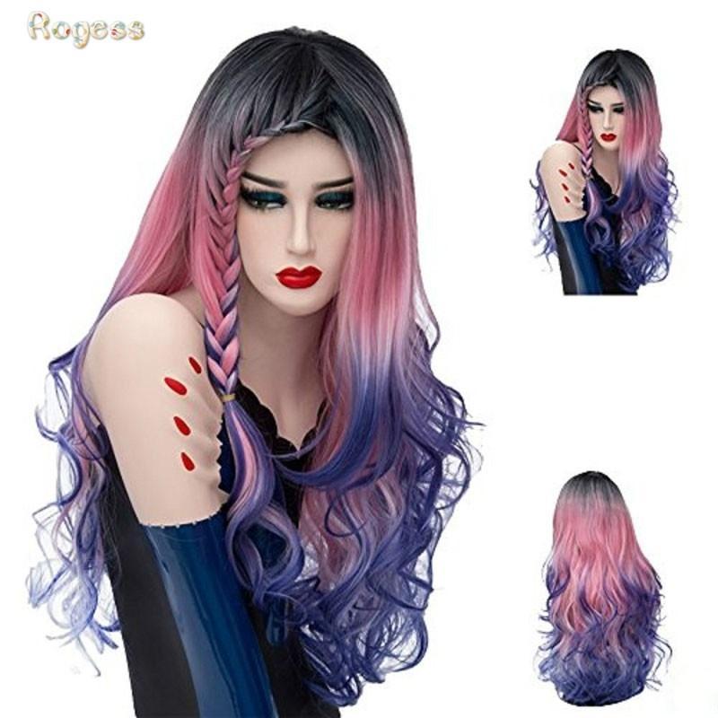 Longs bouclés perruques pour les femmes perruques cheveux naturels ondulés perruque de cheveux colorés