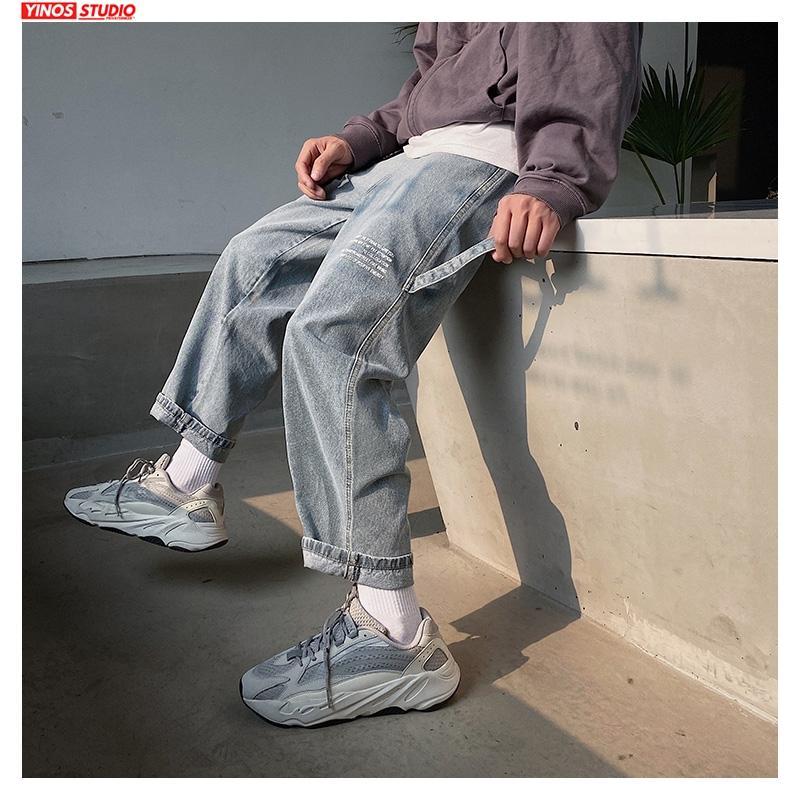 Dropshipping 2020 hombres Carta de Verano de impresión Pantalones vaqueros de los hombres de Harajuku suelta Streetwear los pantalones vaqueros rectos de manera masculino pantalones de gran tamaño