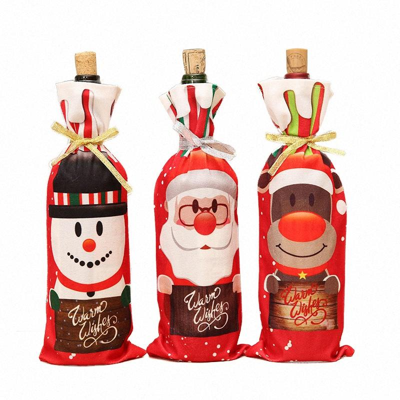 Christmas Decor For Home Santa Claus Decorating Wine Bottle Cover Bags Decoration Snowman Gift Holders New Year ih5Q#