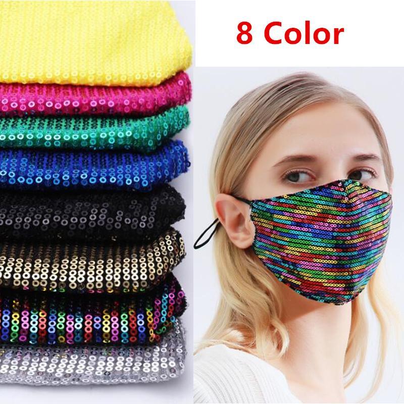 Riutilizzabile Paillettes Maschera di moda di seta di Bling 3D lavabile PM2.5 Cura parasole Colore Oro Elbow lucido Viso Bocca copertina maschere AAE1920