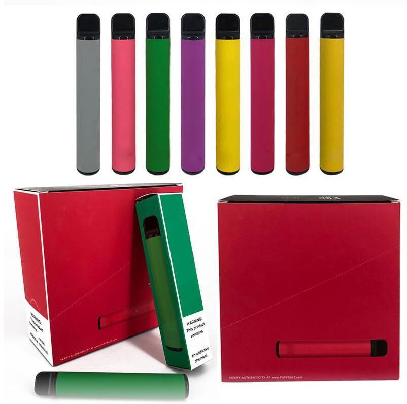 최신 PUFF BAR PLUS 800 + 퍼프 일회용 포드 카트리지 550mAh 배터리 3.2mL 미리 채워진 Vape 포드 스틱 스타일 30 색 휴대용 기화기