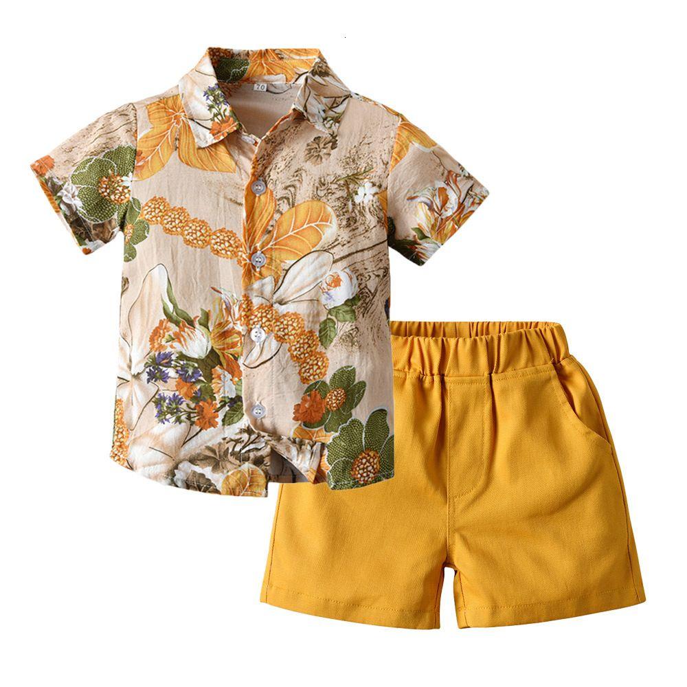 Botão dos meninos de Verão Roupa Set Flor camisa da praia + Shorts 2pcs Conjuntos de algodão Hawaiian Style Crianças férias Define Crianças Boy