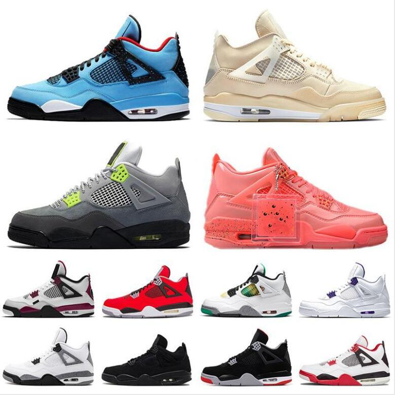 New Sail 4 4s Black Cat White Cement What The Splatter Mens Basketball Shoes Cactus Jack Black gray Men Women Sports Sneakers