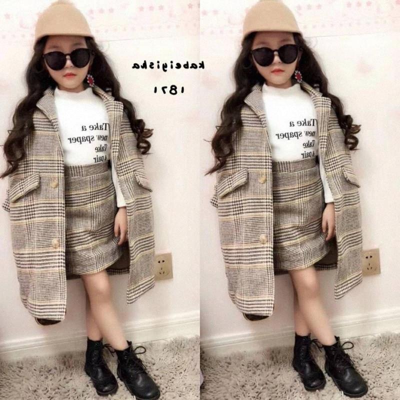 Mihkalev Moda bambino vestiti della ragazza autunno bambini che coprono l'insieme Coat + skirt 2pieces neonate tuta bambini tuta abito LxpP #
