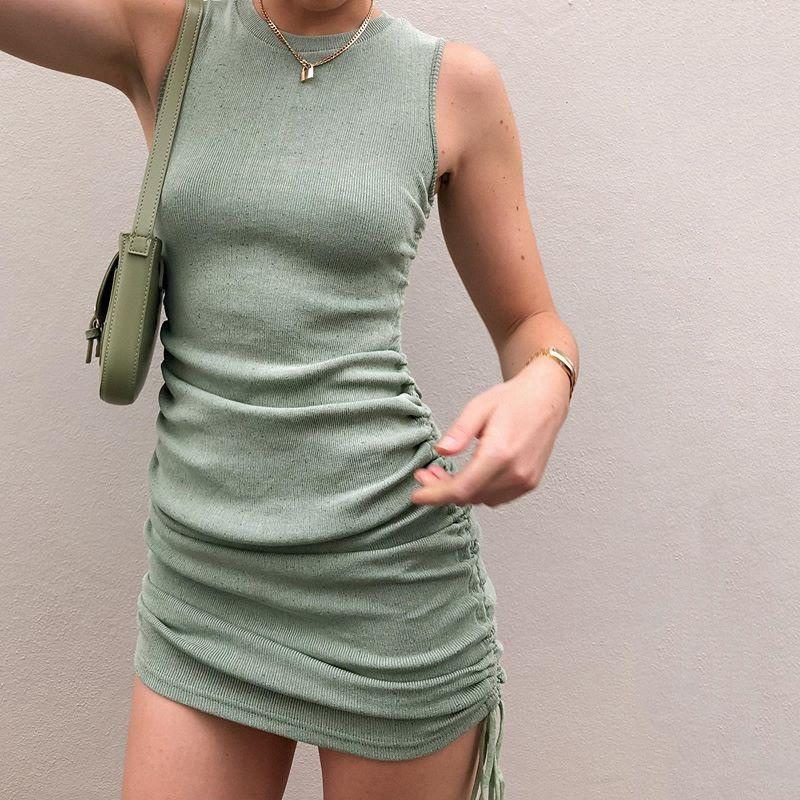 InstaHot Rib Strickpullunder Dr Sleevel Sommer Female Kordelzug Seiten elegante beiläufige Partei Bodycon dünne Mini Dres Frauen 2020