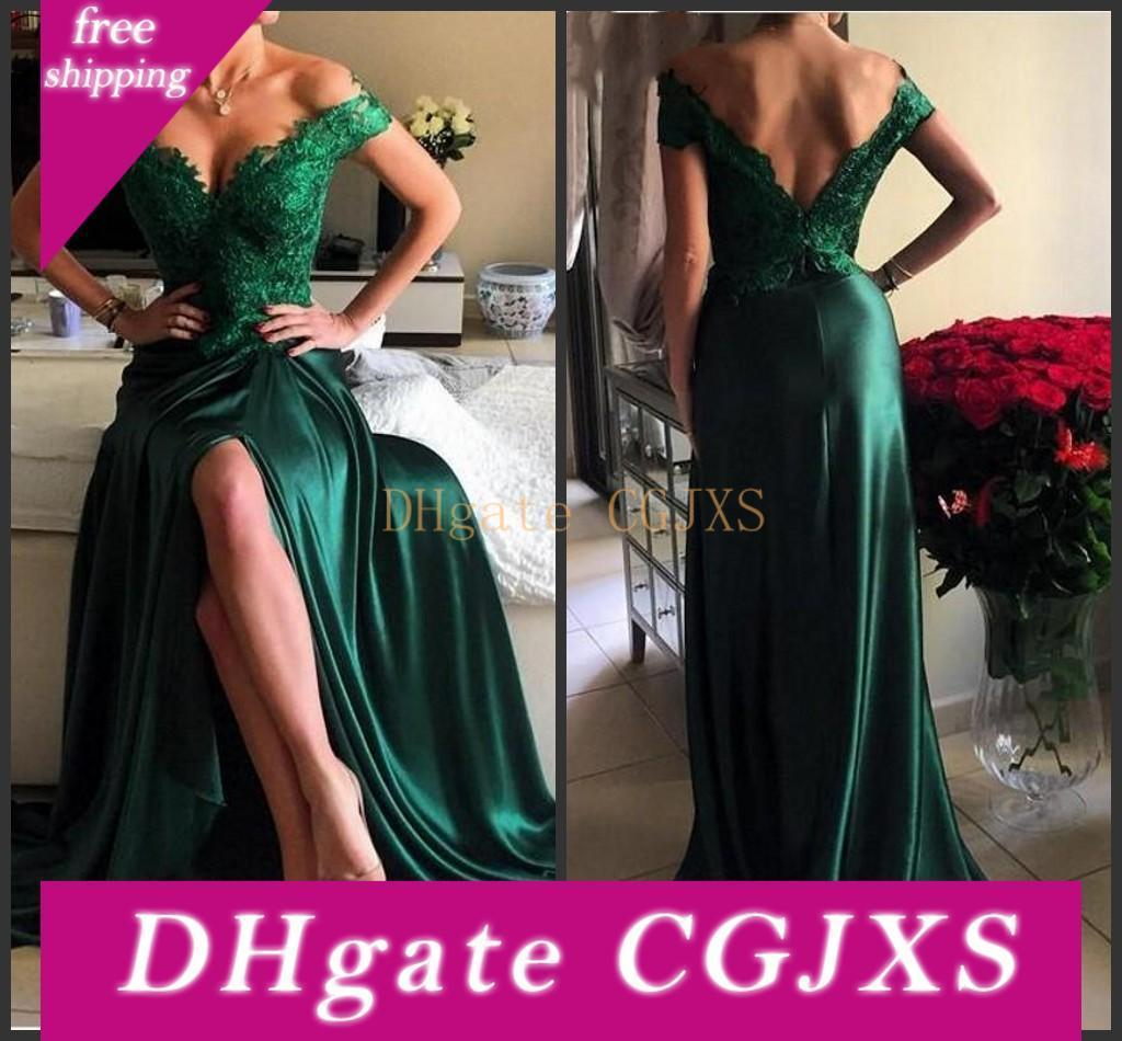 2019 vestido de fiesta verde esmeralda brillante de alta calidad de las muchachas de las mujeres del hombro formal largo del partido de tarde del vestido más del tamaño Vestidos de Fiesta
