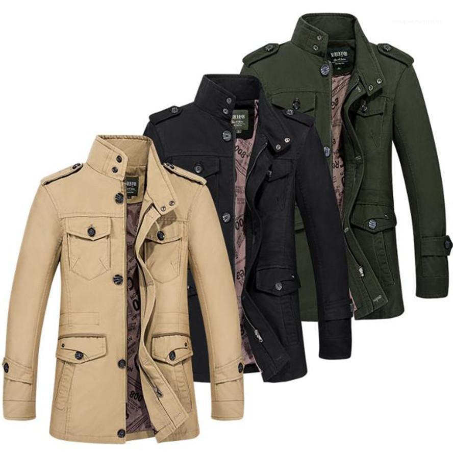 Cepler Kış Ceket Adam Yaka Yaka Uzun Kollu İnce Artı boyutu Coats Casual Katı Renk Uzun Outerwears