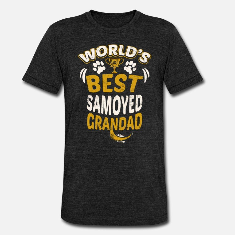 hombres de la camiseta Mejor samoyedo Grandad del mundo de la impresión camisa de manga corta del O-Cuello del traje de la aptitud cómico del otoño del resorte Cartas