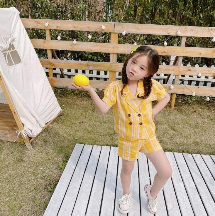 2020 2020 Оптовая девочек плед набор пальто + шорты Летняя мода для девочек Костюмы 2 7т QA606 Onk6 #