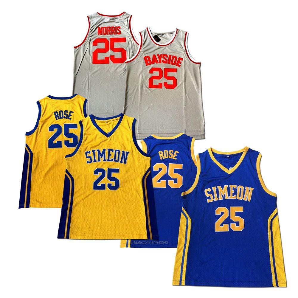 Derrick Rose # 25 Simeon Zack Morris Basketball Jersey Highschool Movie Jerseys Blau Gelb grau 100% genähte Größe S-XXL Top Qualität