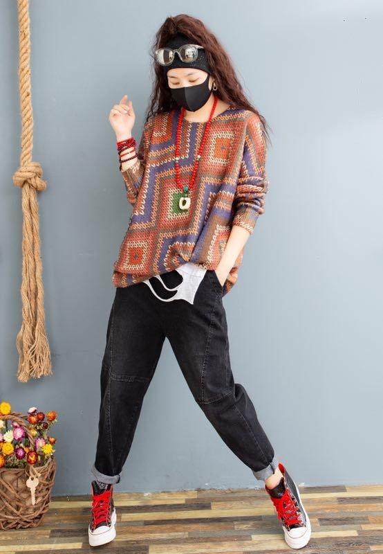 vhvcQ Pullover Herbstfrauen Spitzen runden gestreift lose große Hülse lange Pullover Top Pullover Allgleiches gedruckt Kragenpullover RnNy1 sweate