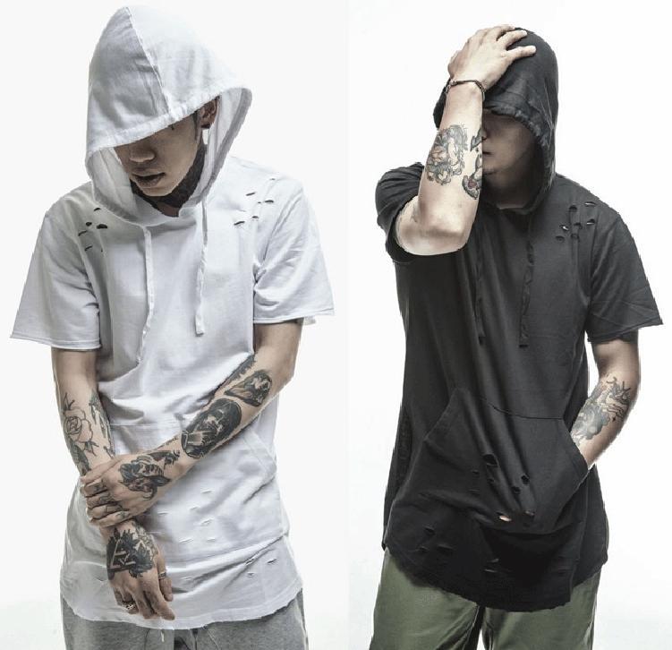 vendita calda T-shirt 2020 uomini di grandi dimensioni sono Hat moda hip hop stile strappato malloppo manica corta Retro homme XXL maglietta XK