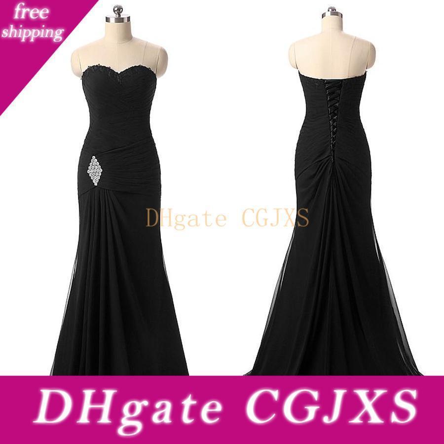 Graceful Chiffon-Schatz-Ausschnitt-Nixe-formales Kleid mit Beadings Gewirr mit Rüschen besetzten schwarzem Abendkleid Abendkleid