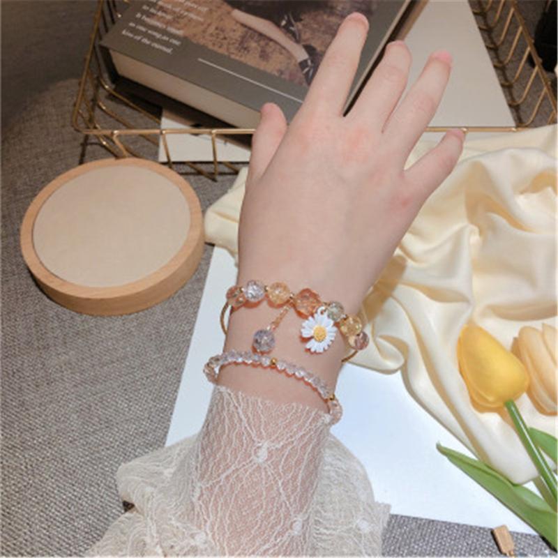 Korean Kristall-Perlen Popcorn Sprung Perlen Frühling und Sommer-Gänseblümchen-Blumen-Double-Layer-Armband-Partei-Geschenk Schmuck