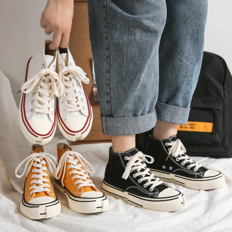 Moda Autunno Skate Sneakers primavera casual bordo Scarpe 50% Pattini coreana Ulzzang Tela Skater per le donne Autunno robusta scarpe da ginnastica
