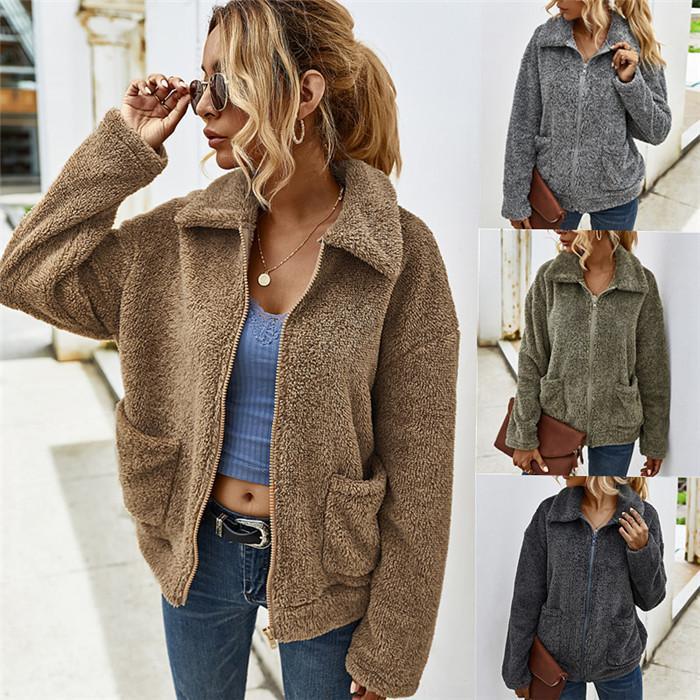 Femmes Agneau Vestes Laine Mode Automne Hiver Solide Couleur de poche braguette Manteaux courts Loose Women Outerwears