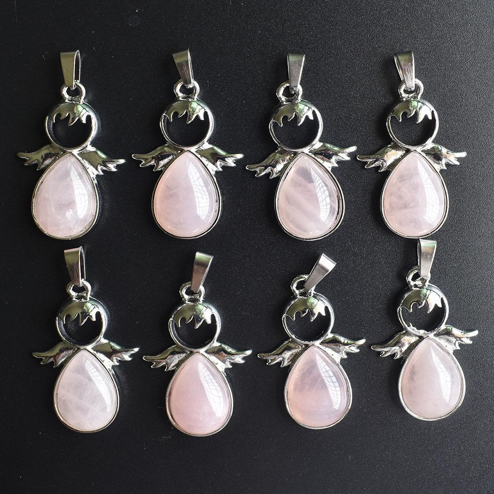 Großhandel 8 Stücke / Los Art und Weise Angel Wings natürliche rosa Stein Halskette Schutzengel Anhänger weiblichen Schmuck freies Verschiffen des Geschenks