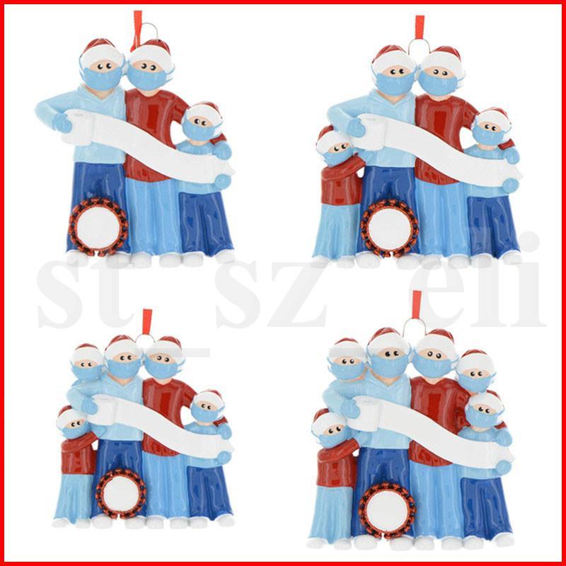 2020 Quarantaine Kerstversiering Familie van 3 4 5 6 Verjaardagen Party Gift Ornament Pandemie met gezichtsmaskers