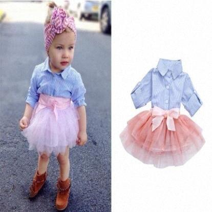 Baby Girls Clothes Set Kids Stripe Shirt Tulle Skirt Outfits Children Long Sleeve Shirts Pettiskirt Suits Boutique Clothing Sets ZYQA5 GoZn#