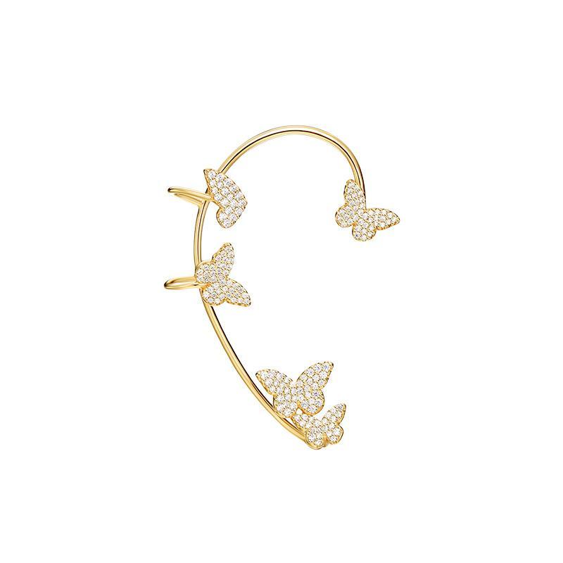 al por mayor de oído de la manera real de plata de ley 925 amarillo de la bola del color oro mariposas Manguito circonio cúbico pendiente de clip 1pc para las mujeres