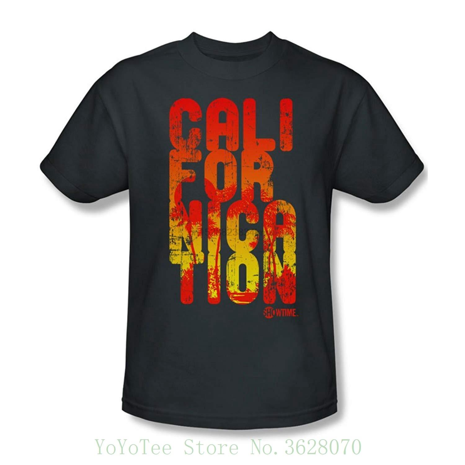 Californication - Herren Cali Typ T-Shirt In Kohle Sommer O-Ansatz Hipster Tops