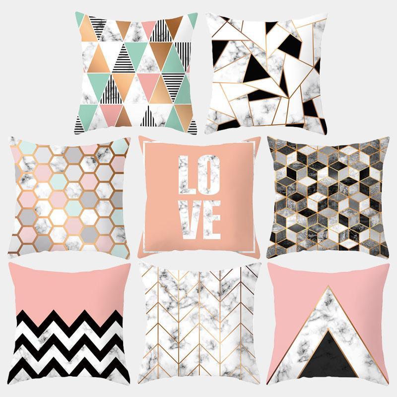 Marmo geometrica Cuscino Nordic semplice in poliestere decorativo Cuscino di tiro del cuscino divano federa decorazione domestica 10048