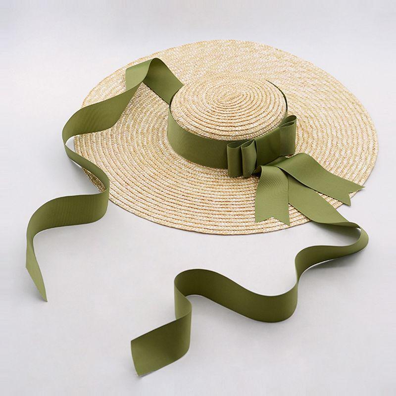 Новый стиль Широкий Брим Summer Hat Женщины Длинные ленты Природные Луффи Элегантный Holiday Beach канотье Hat защиты UV Солнцезащитный козырек