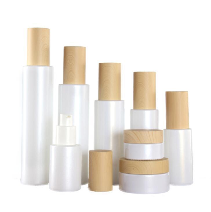 30 ml Opal Botellas de cristal blancas con gotero de cristal de bambú Cosmetic Crema Tarros Face Crema Pot, Fundación Esencia Loción Bomba de tratamiento