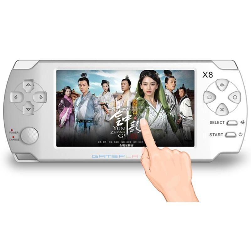 cgjxs X8 4 pouces .3 Console de jeux portable de l'écran tactile avec E -Book TV Out de poche classiques Jeux gratuits pour MP5