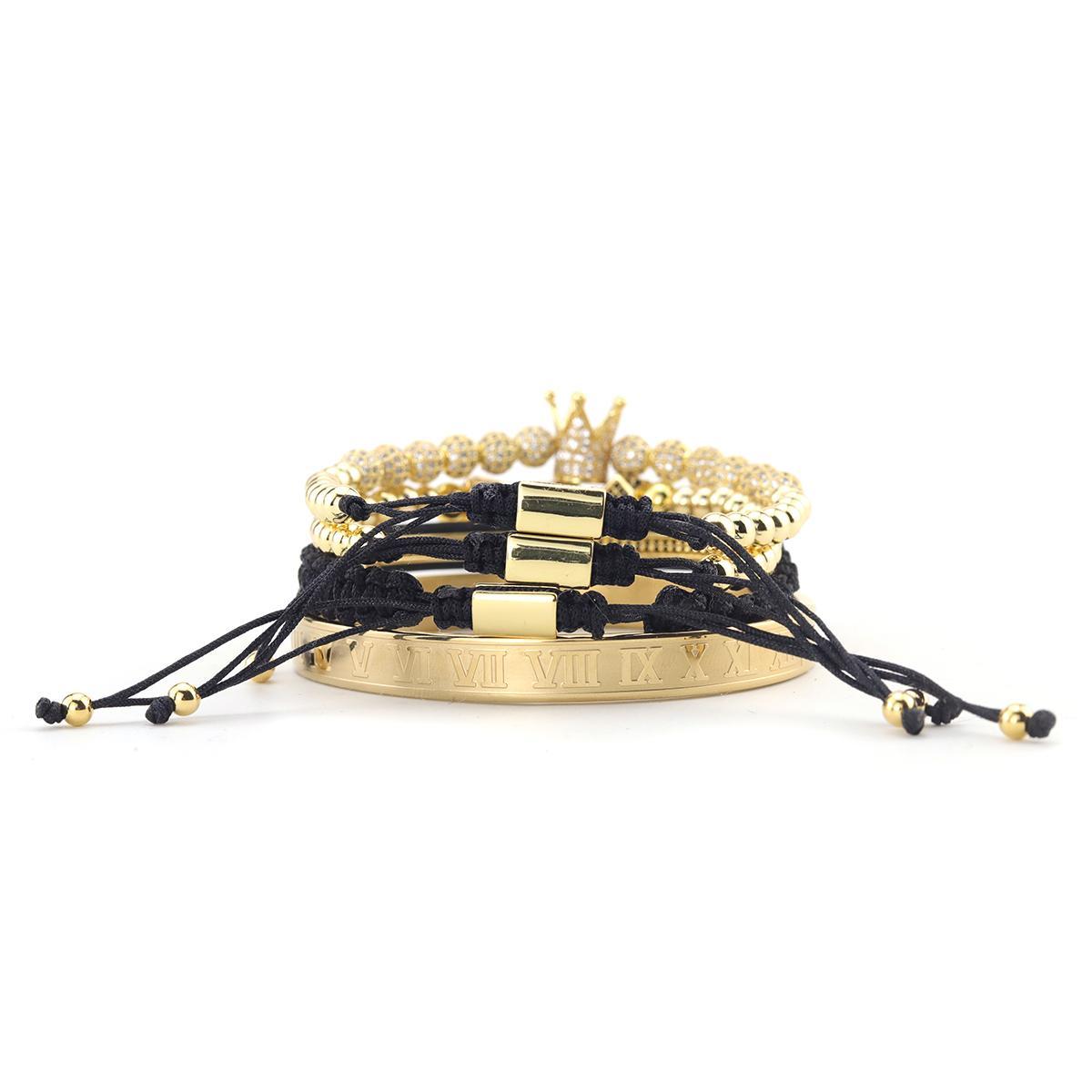 4pcs / Set Luxus Kupfer Perlen König Crown Herren-Armband Edelstahl-Armband CZ KugelMacrame Armbandarmbänder für Männer Schmuck