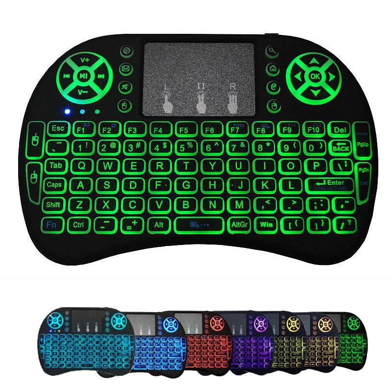 Mini I8 Kablosuz Klavye Arka Işık Aydınlatmalı 2.4G Hava Fare Klavye Uzaktan Kumanda Touchpad Şarj Edilebilir Lityum Pil ve