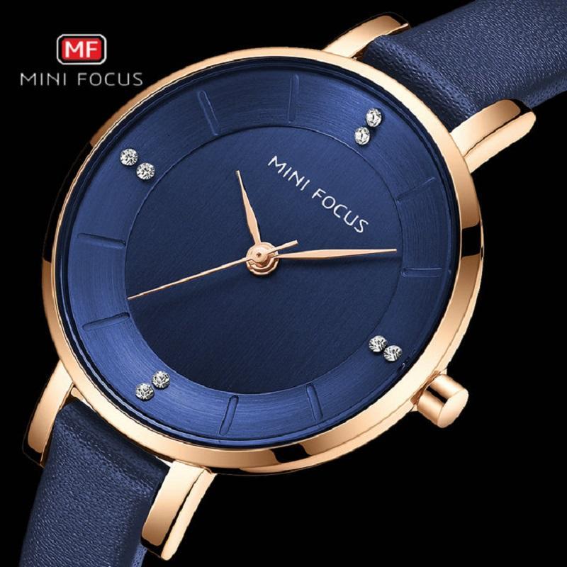 Simple MINIFOCUS élégant Montres de luxe Mesdames Import Japonais Mouvement Quartz Montre en cristal véritable Robe Horloge Bracelet en cuir