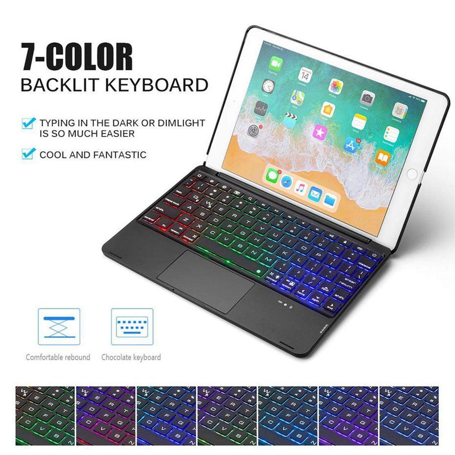 Per iPad Pro 9.7 NUOVO Custodia per iPad Air con tastiera Bluetooth Touchpad LED Tastiera retroilluminata in alluminio per tastiere wireless