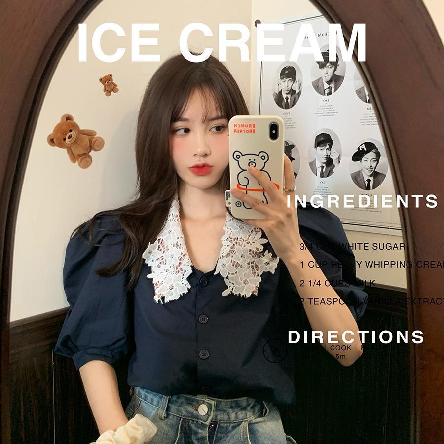 귀신이 산다 한국 동문 블랙 퀸 시리즈 레이스 셔츠 자기 보존 꽃 무늬 레이스 더블 칼라의 아름다움 튀김 소매 셔츠