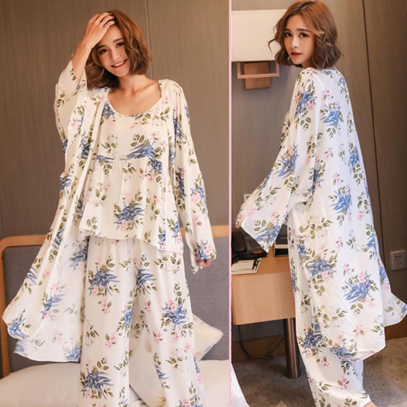 여성 잠옷 3 개 공단 잠옷 Pijama 실크 홈 착용 홈 의류 자수 수면 라운지 파자마 잠옷 세트