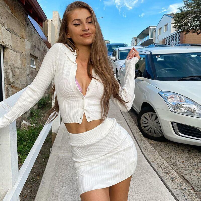 Autumn 2020 Knit Women Set Black Long Sleeve Crop Top and Mini Bodycon Skirt Sexy Outfit Party White Two Piece Sets