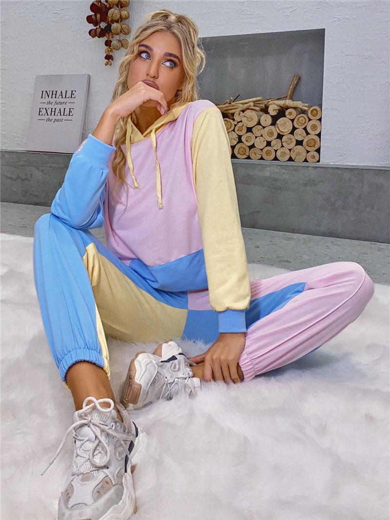 Ladise Colorblocked Kapşonlu Triko Moda Trend Sonbahar Uzun Kollu Kazak Üst Kapüşonlular Giyim Tasarımcı Kadın Kış Casual Gevşek Kapüşonlular