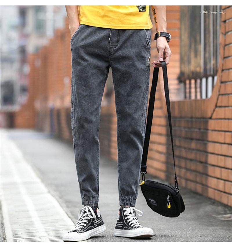 Pantolon Erkek Cep Jeans Moda Elastik Bel Kalem Pantolon Erkek Distrressed Düz Jeans Saf Renk Orta Uzun
