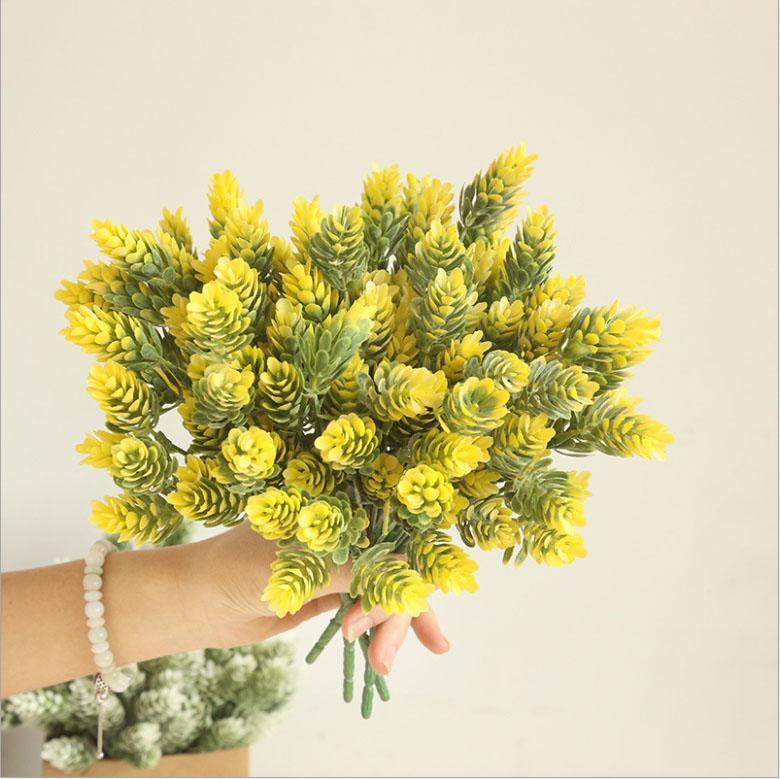 3pcs Mini erba ananas artificiale fiore pianta arredamento casa giardino di Natale bouquet di nozze muro vegetale fiore falso