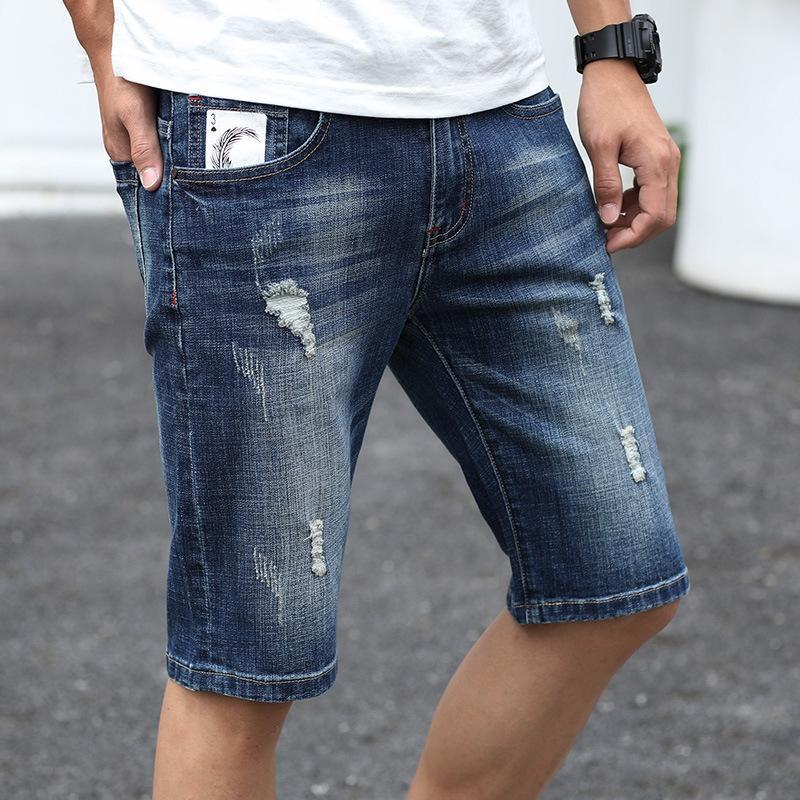 mN5Be RuOQo rasgado 2020 shorts jeans tendência solto de verão finas 5 pontos calções de 5 pontos dos homens calções moda calças médias dos homens de 7 pontos 7-poin