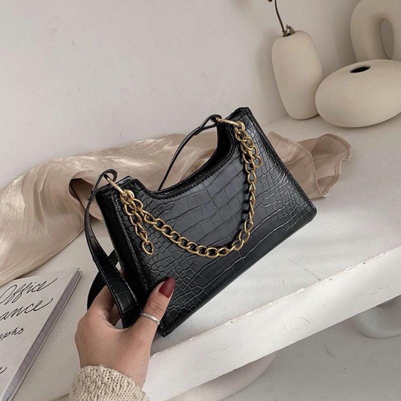 Sacs de pierre Sacs Sacs Bolsas Luxe 2020 Designer Sacs à main en cuir Fourre-tout Mesdames Messenger sac à main rétro baguette crocodile lqqnt