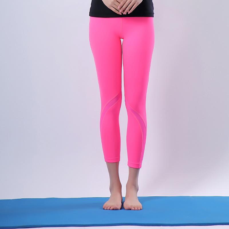 ltXkl Йога спорта высокой упругой сетки дышащий Высокая нога работает бедра подъема талии закрытия 9 спорта узкие брюки точки фитнес-стрейч плотный р