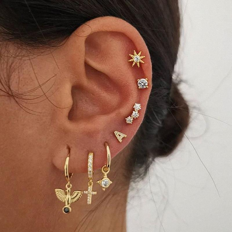 Ювелирные изделия способа родня Золото Малый Крест Хооп серьги для женщин уха клип Hoops серьги болтаться Stud Женские Earings Set 2020 jIZP #