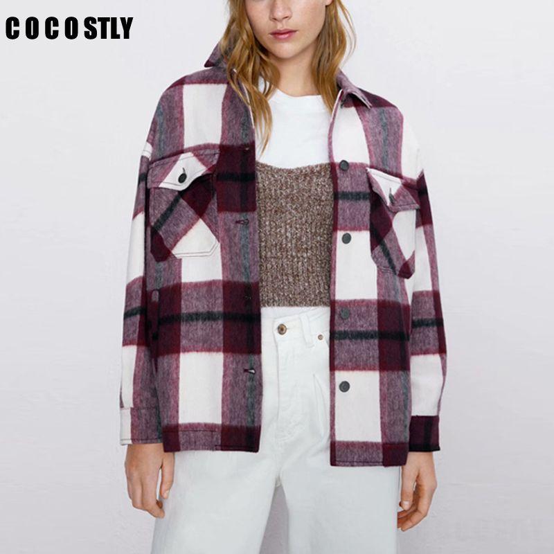 2020 Herbst-Frauen Plaidwolle Bluse Gothic Karo Maxi-Wollhemd Thick Damen Vintage-Chic Top Blusas