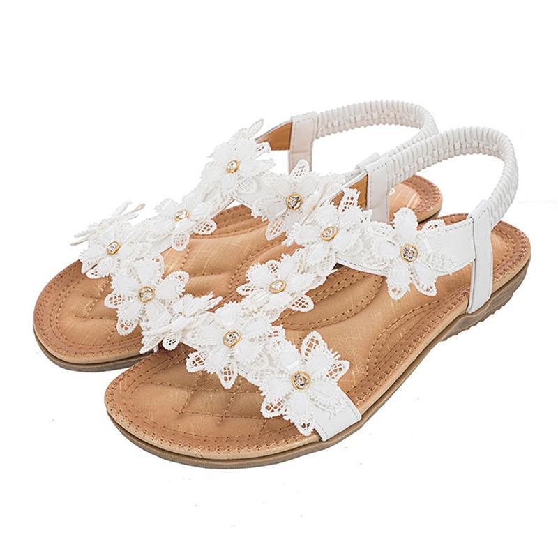 TIMETANGCasual femmes de la mode, plus la taille des sandales summer2020 fleurs t de type femmes sandales de plage vacances chaussure confortable appartement doux