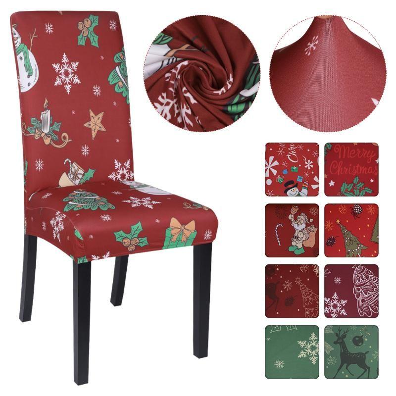 1pc Impreso de Navidad cubierta de la silla de Navidad extraíble Trona cubierta Espesar para las bodas Hotel Agape