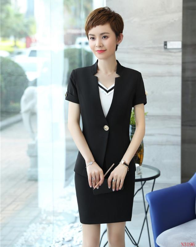 Ladies Summer Black Blazer Women Business Suits with Skirt and Jacket Sets Work Wear Office Uniform Styles