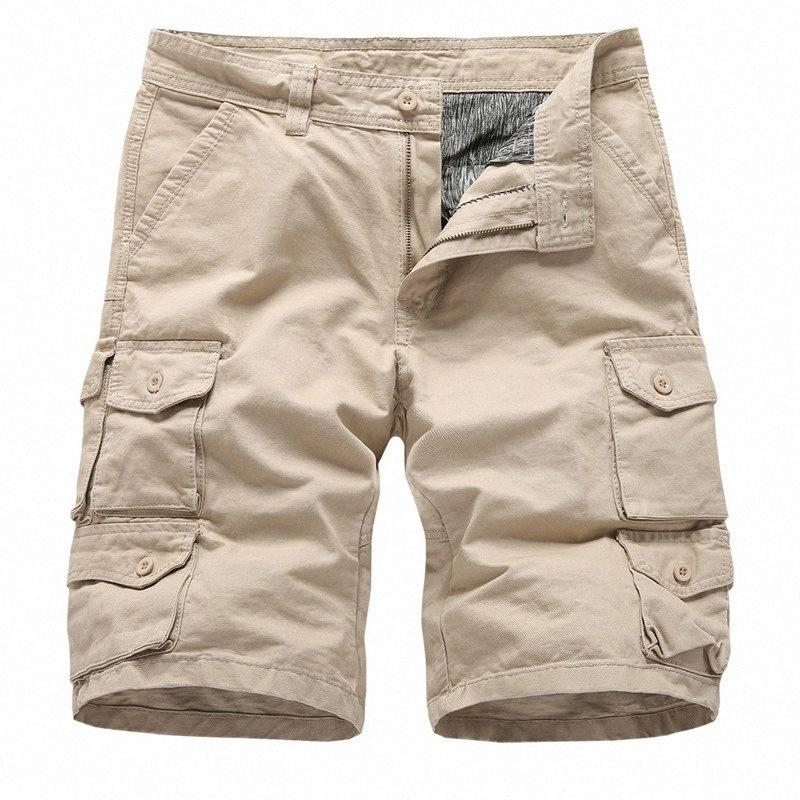 2019 Erkek Kargo Şort Yaz Casual Pamuk Şort Erkekler Çoklu Cep Homme Casual Bermuda Pantolon Katı Renk 3e2s #