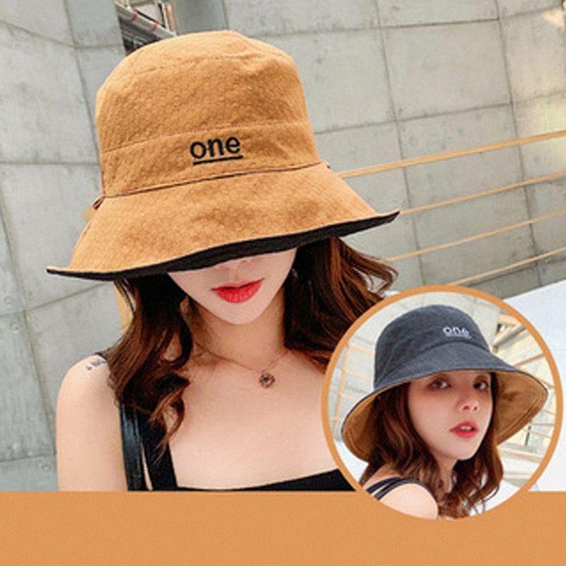 Una carta Sombrero de sol del verano de las mujeres de doble cara plegable algodón de lino Sun sombreros de la playa grande de ala ancha de protección solar femenina del sombrero del cubo sombreros En Th 3fsL #